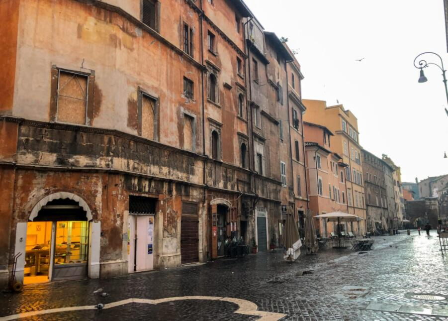 Remaining buildings from the ancient Roman ghetto